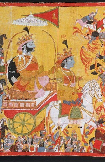 Arjuna with Lord Krishna driving his chariot. detail as they confront Karna in battle. painting ca. 1820
