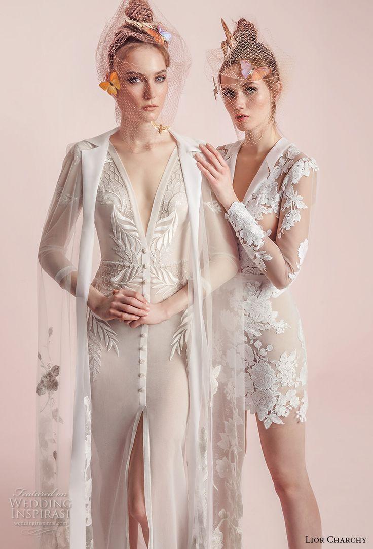 lior charchy spring 2017 bridal long sleeves sheath wedding dress gown and short wedding dress -- Lior Charchy Spring 2017 Wedding Dresses