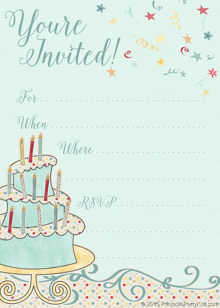 FREE Printable Whimsical Birthday Party Invitation Template  Birthday Party Card Template