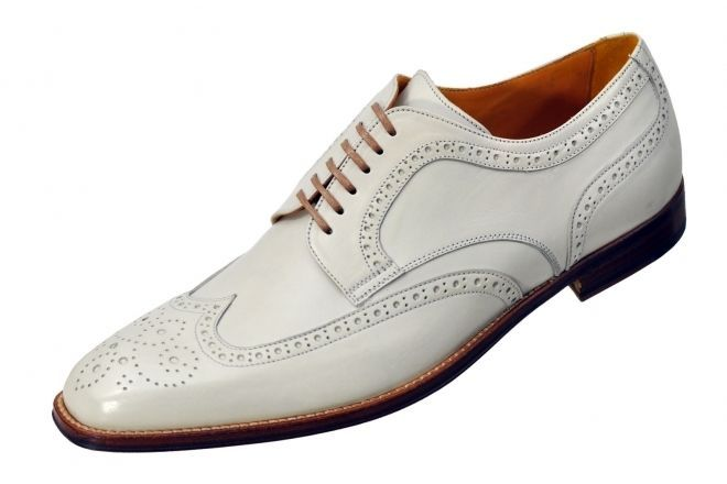 Handmade mens white wing tip brogue dress leather shoes,Men formal leather shoes