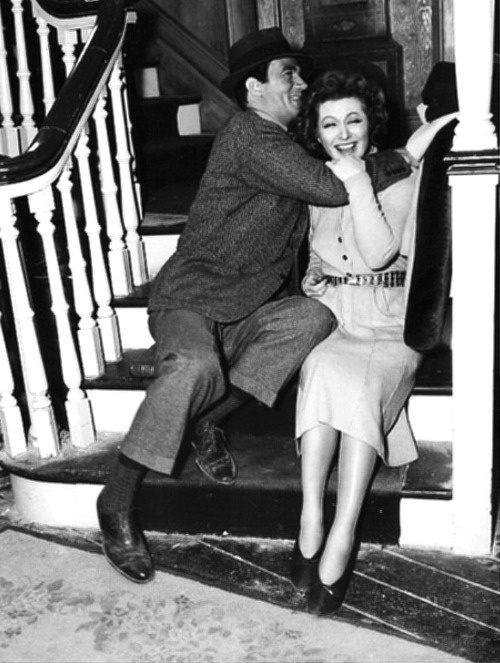 Candid shot of Greer Garson and Walter Pidgeon on the set of Mrs. Miniver (1942)  // from tracylord (originally from signorelligirl)