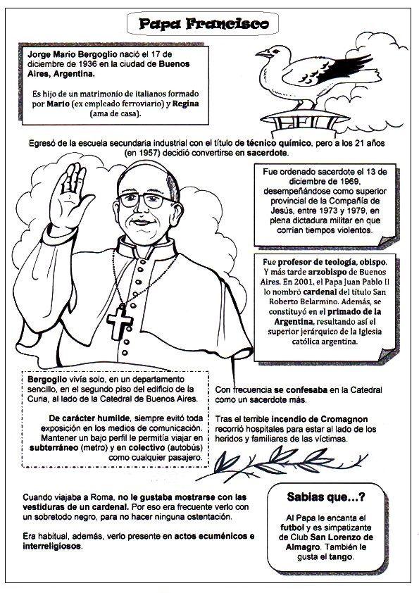 PASATIEMPOS Y CRUCIGRAMAS: Dibujos para colorear Papa Francisco