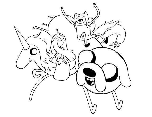 Adventure time Coloring page for kids Finn and JakeThiscoloring ...