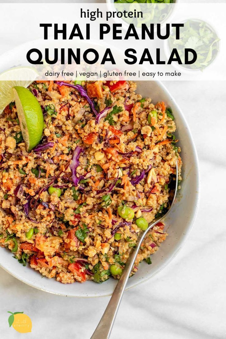 Thai Vegan Quinoa Salad Oil And Gluten Free In 2020 Quinoa Recipes Healthy Quinoa Recipes Easy Vegan Salad Recipes