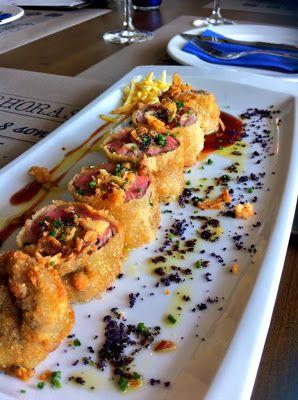 Flamenquín de ternera, queso azul y pimientos asados