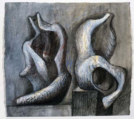 Henry Moore. Ideas for Sculpture: Two Seated Figures 1980. Charcoal, wax crayon, ballpoint pen, watercolour wash on off-white wove.