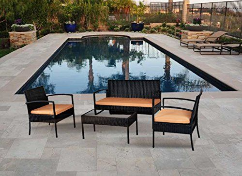 garden furniture 4 piece all weather deep seating group wicker patio seating set with