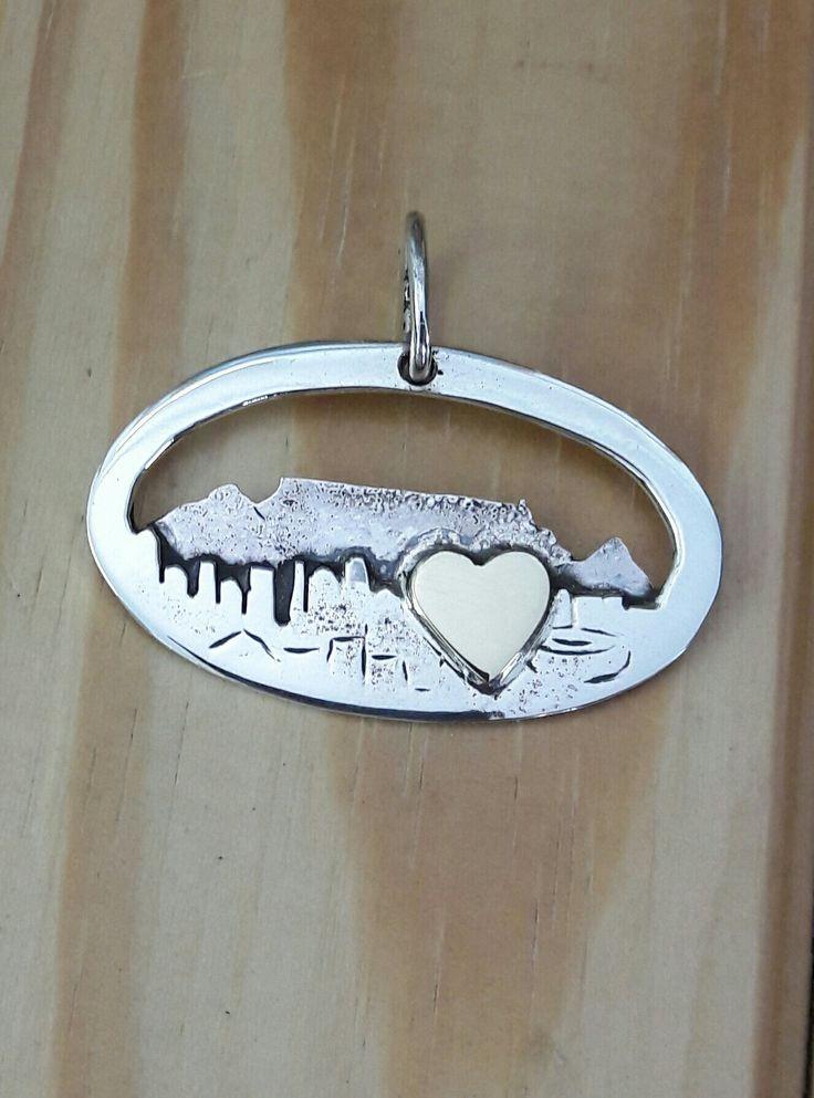 """Handmade silver pendant, """"Cape Town love"""", 2016, Gesie"""