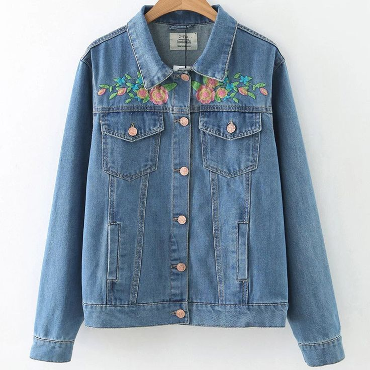 Blue Bird Embroidery Back Denim Coat Long Sleeve Casual Jacket Slant Pocket Front Button Outwears