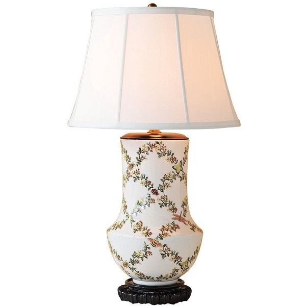Port 68 Jour De Juin Floral Porcelain Table Lamp ($715) ❤ liked on Polyvore featuring home, lighting, table lamps, cream table lamps, floral table lamp, beige lamps, beige table lamps and porcelain finials