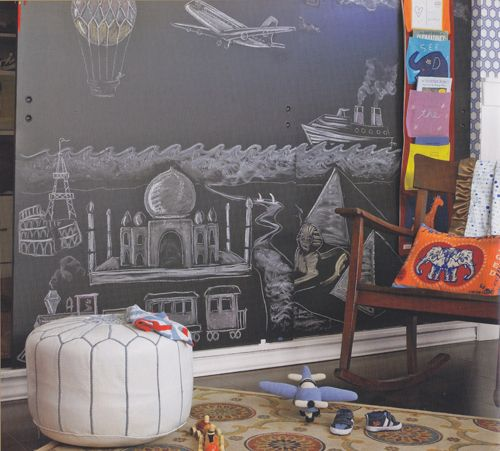 A #chalkboard wall is a great feature for kids' rooms.  #playroom