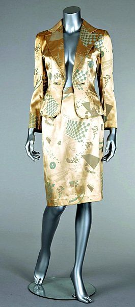 "Jerry Halls ""City Lights Studio"" printed gold satin suit, 1973"