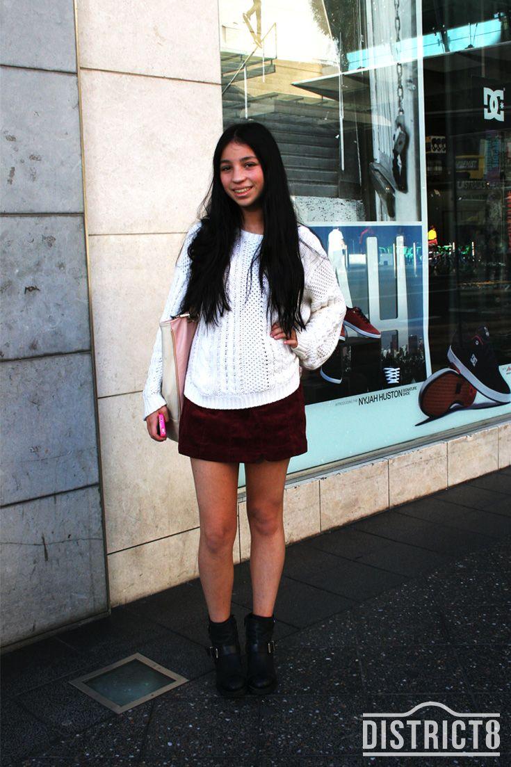 Emily. District - BONDI JUNCTION, Sydney. Top - General Pants, Skirt - General Pants http://district8.com/store/general-pants-co Shoes - Topshop http://district8.com/store/topshop Bag - Colette http://district8.com/store/colette-by-colette-hayman