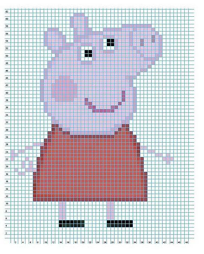Olaf Knitting Pattern Chart : 47 best images about Peppa pig on Pinterest Perler bead patterns, Cross sti...