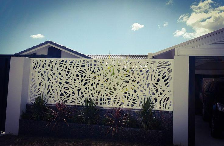 Laser cut decorative fence infill panels.  Powder coated aluminium.  Urban Metal Design : Ribbons