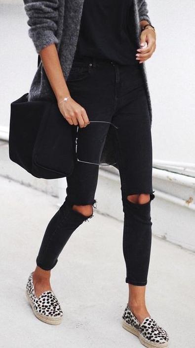 black ripped jeans. grey knit cardigan. leopard espadrille. WOMEN'S ATHLETIC & FASHION SNEAKERS http://amzn.to/2kR9jl3