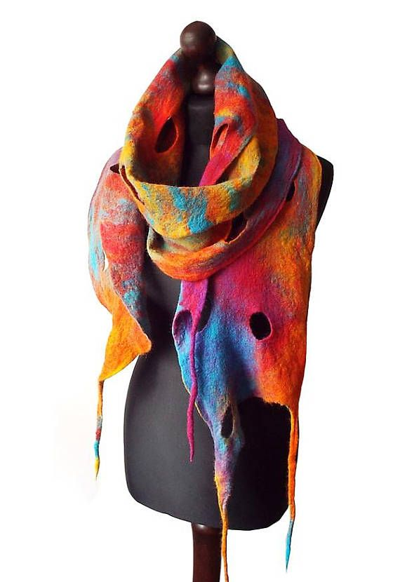 Felted Scarf Felt scarf Felted Collar Handmade Art to wear Multicolor Shawl Colorful felt Boho Winter Rainbow Neck warmer Gift OOAK  Felted scarf made from finest Australian merino wool. Colors: multicolor - yellow, shades of red, shades of orange, shades of turquoise, purple.  Size: