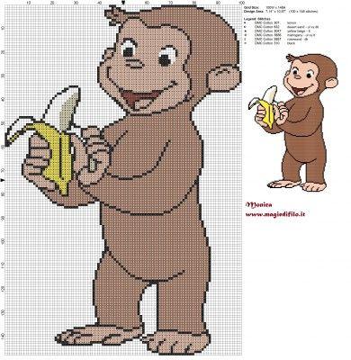 Schema punto croce George con la banana (Curious George) 100x148 6 colori.jpg