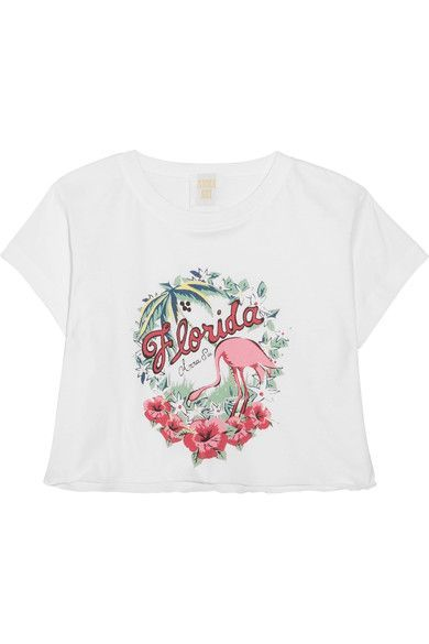 Anna Sui - Florida Cropped Printed Cotton-jersey T-shirt - White -