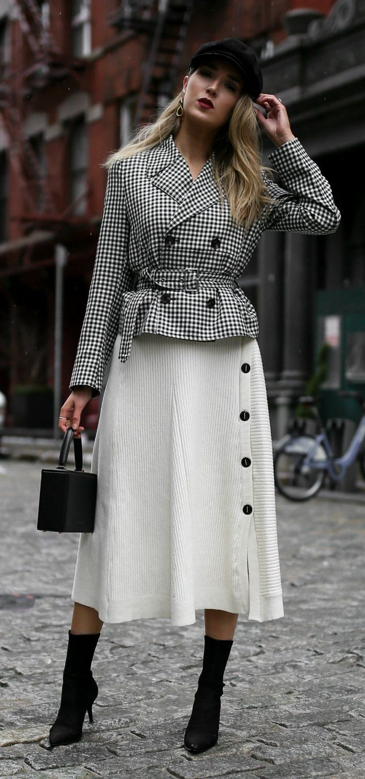 Gingham Jacket, Ivory Midi Skirt, & Baker Boy Hat // Gingham belted blazer jacket, ivory ribbed midi skirt with buttons, baker boy hat, sculptural gold earrings, black cling stretch booties, black top handle box bag, deep red lip {Alexander Wang, Brixton, Tibi, Stuart Weitzman, Victoria Beckham, spring outfits, chic style, classic style, workwear outfits, fashionable workwear, nyc fashion blogger}