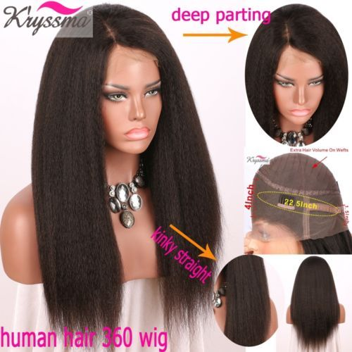 """Kinky Straight 100 Human Hair Wigs Brazilian Remy Human Hair Lace Front Wigs 10"""""""