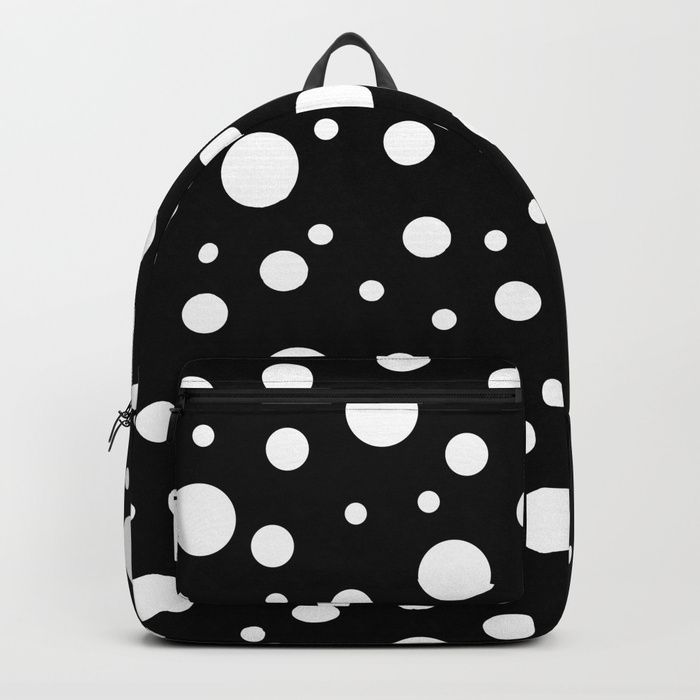 "Our Backpacks are crafted with spun poly fabric for durability and high print quality. Thoughtful details include double zipper enclosures, padded nylon back and bottom, interior laptop pocket (fits up to 15""), adjustable shoulder straps and front pocket for accessories. Dry clean or spot clean only. One unisex size: 17.75""(H) x 12.25""(W) x 5.75""(D). #polkadot #polka #dot #backpack #bags PolkaDot #Backpacks  #SchoolBag"