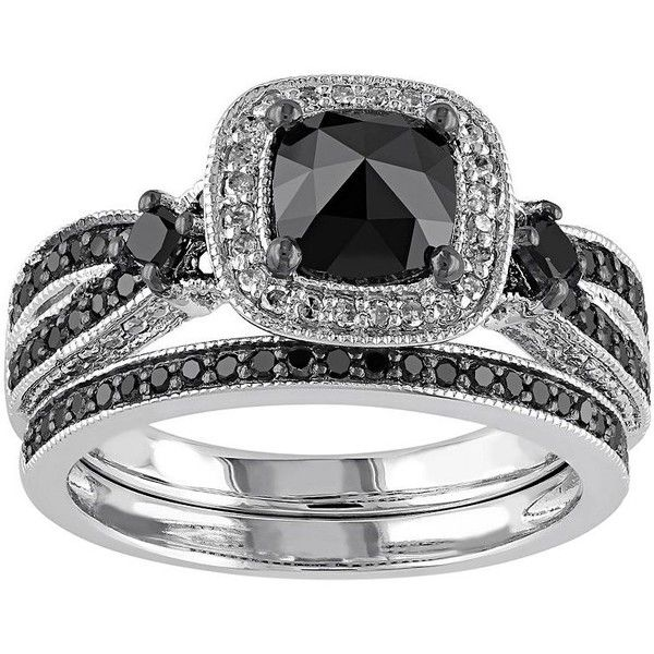 Black & White Diamond Halo Engagement Ring Set in Sterling Silver (1... ($770) ❤ liked on Polyvore featuring jewelry, rings, black, wedding band rings, round wedding rings, round engagement rings, wedding rings and cushion cut wedding rings