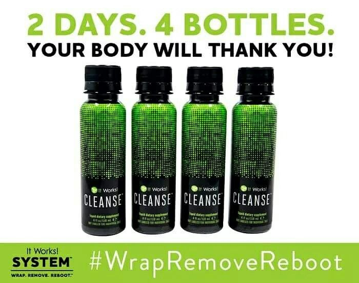 The It Works! Cleanse brought the #BOOM to the It Works! System! It is a gentle two-day ✌️ cleanse that helps your body reset and rebalance itself ✨ so you can feel and look your best! Cleanse on your REMOVE days by drinking one bottle ☝️ before breakfast and one bottle ☝️ before dinner, for two consecutive days. It's that easy! Order yours today at www.rachelwrapper.itworks.com