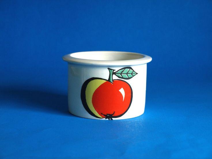 Arabia of Finland Tutti Frutti Apple Jam Jar - Vintage Mid Century Pomona Condiment Dish Fruits Design by Ulla Procopé by FunkyKoala on Etsy