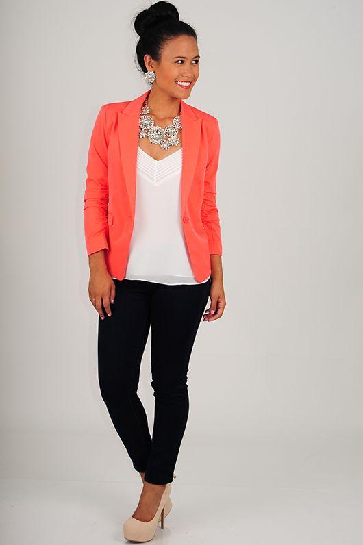 The Shelby Blazer: Neon Coral $24!!!!!Oakley sunnies!! www.okglassesvips.com/