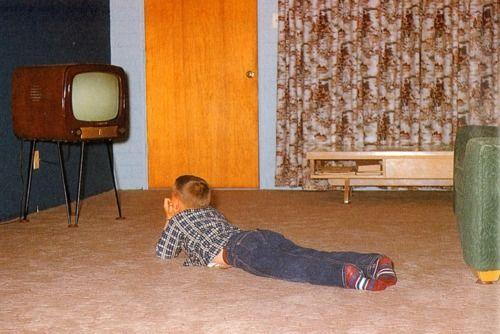 Watching TV.