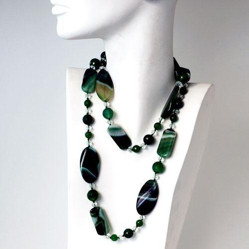 Collana Lunga in Agata Verde - Collane - Gioielli - Gioielli in Pietre Dure e Preziose