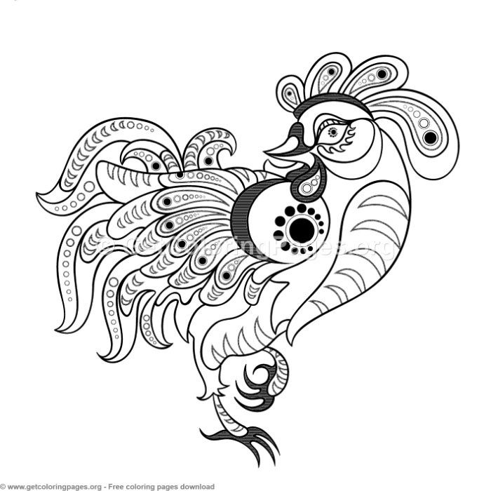Chinese Horoscope Year Of The Rooster Coloring Pages