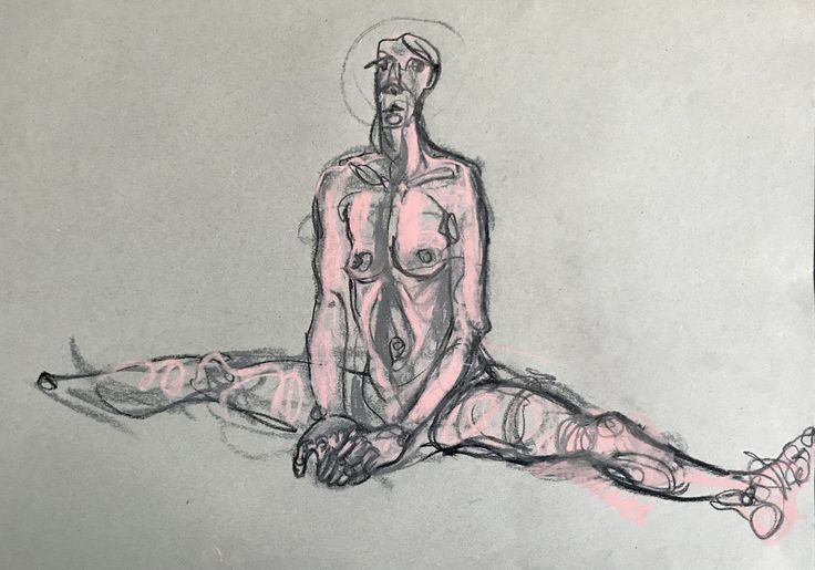 Live model drawing. Sketch made with pastel on paper.