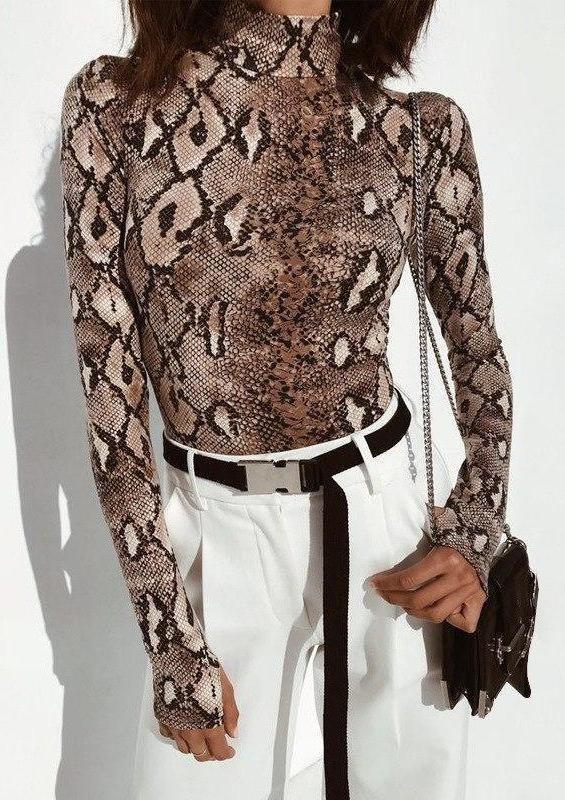 05da361ca0 Snake printed turtleneck bodysuit - Fashion Movements bodysuit