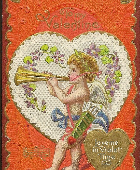 Vintage Valentine Cupid Blows His Trumpet Purple by TheOldBarnDoor