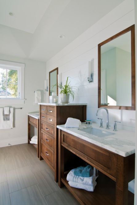 Contemporary Art Websites Wood vanity white bathroom
