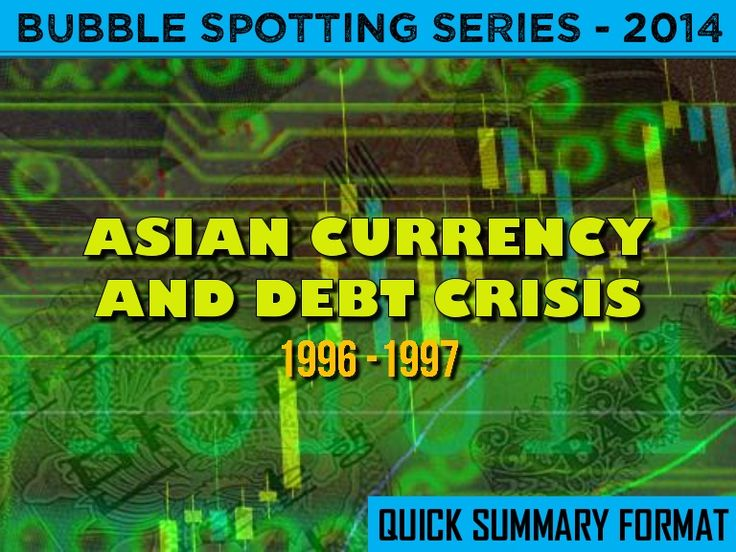 Short summary of the economic / investment bubbles that nearly wiped out the economies of Thailand, Malaysia, Indonesia, and South Korea in the late 1990s.  The contagion and fall-out from this was felt around the world.