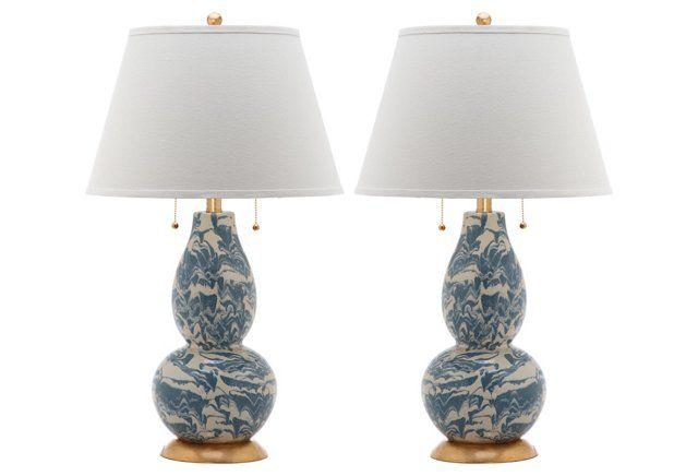 Genevieve Swirl Table Lamp Set, Blue