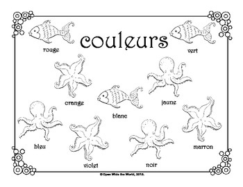 FREE ocean-themed coloring sheets in 5 languages: Spanish