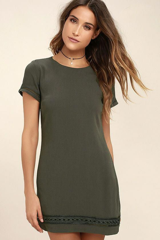 e4c72c18fb5031 The Perfect Time Olive Green Shift Dress is always a great idea! Gauzy  woven rayon shapes a rounded neckline, short sleeves, and a darted, shift  silhouette.
