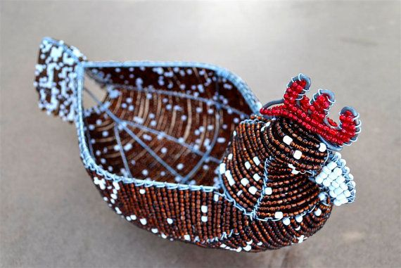 Beaded egg basket Golden brown hen African wire by akwaabaAfrica, $45.00