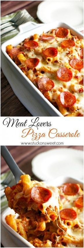 Meat Lovers Pizza Casserole. A family friendly meal that's ready in 30 minutes! | http://www.stuckonsweet.com