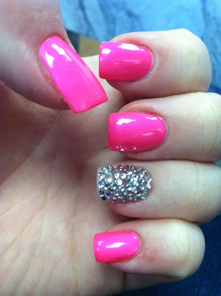 Pink Nails With Diamonds #nails