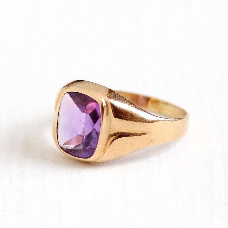 Sale - Vintage 10k Rosy Yellow Gold Art Deco Created Purple Sapphire Ring - 1940s Size 5 1/2 Purple Gem Fine Sweden DEF Cabochon Jewelry