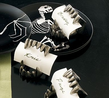 Spray #Paint Dollar Store #Fangs as Place card holders (or food descriptors) for your #Halloween #Party