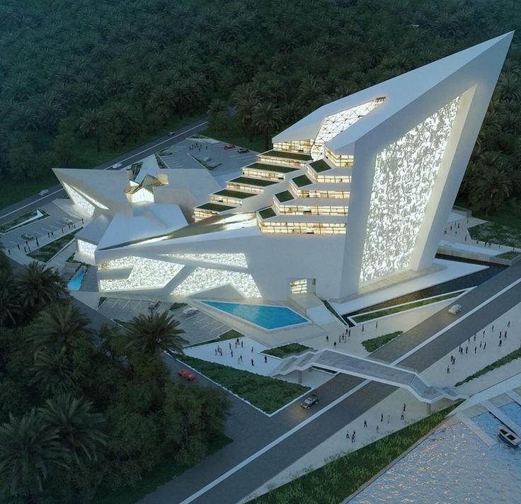 Cultural center designed by Thana'a Hussein. Visualization by Ridha Hasan