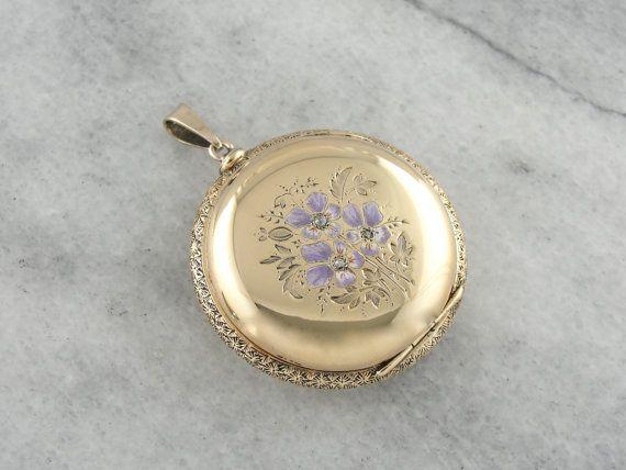 Art Nouveau Enameled Flower Keepsake Locket Solid by MSJewelers