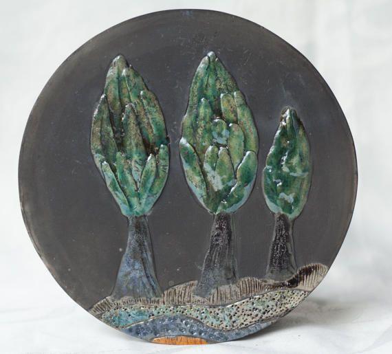 Ceramic picture Trees raku multicolour handmade by ClayLadyArt