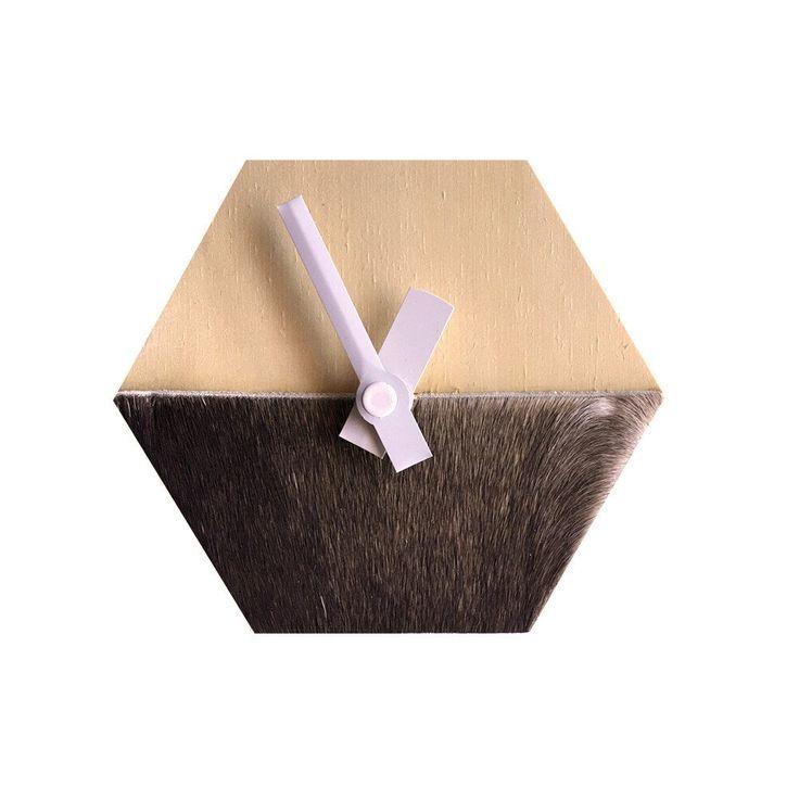 Amindy - Hexagon Desk Clock - Black-Brown cowhide - $59 - Shop online at www.amindy.com.au